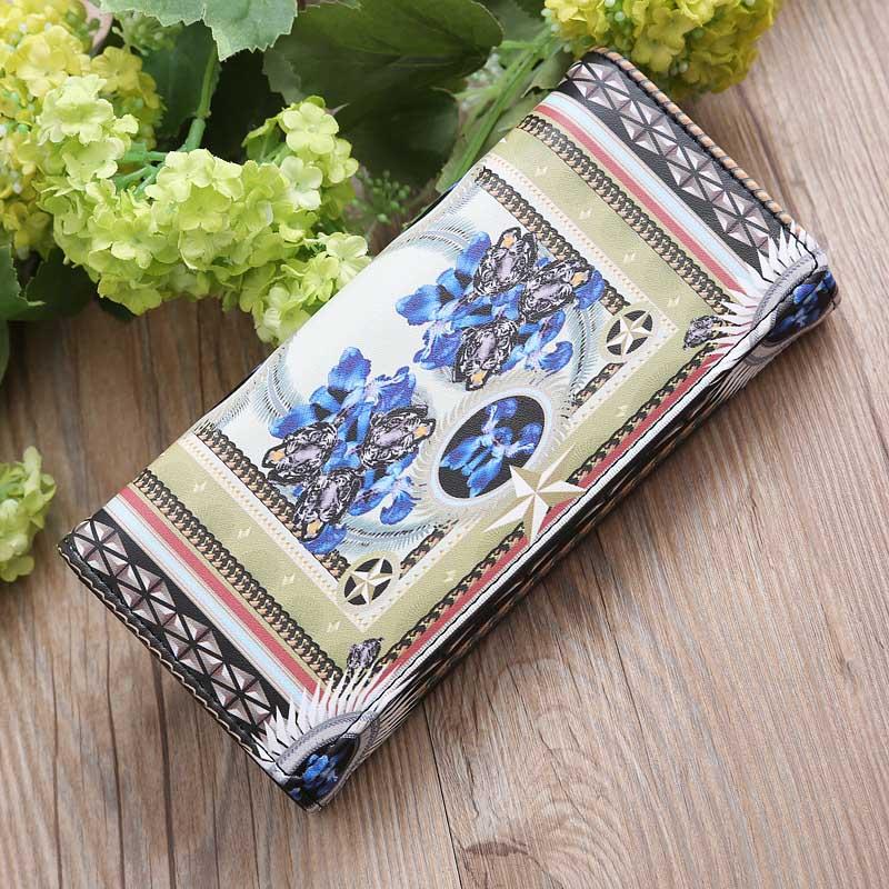 New Arrival Ladies Girls Vintage Floral Printing Card Holder Coin Bag Wallet Handbag Women Female PU Leather Long Purse Popular