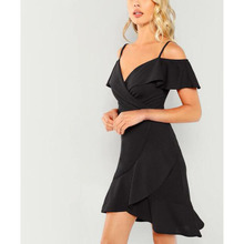 купить Summer V Neck Wrap Ruffle Dress Sexy  Club Cold Shoulder Short Party Dress Elegant Straps Women Dress по цене 731.42 рублей