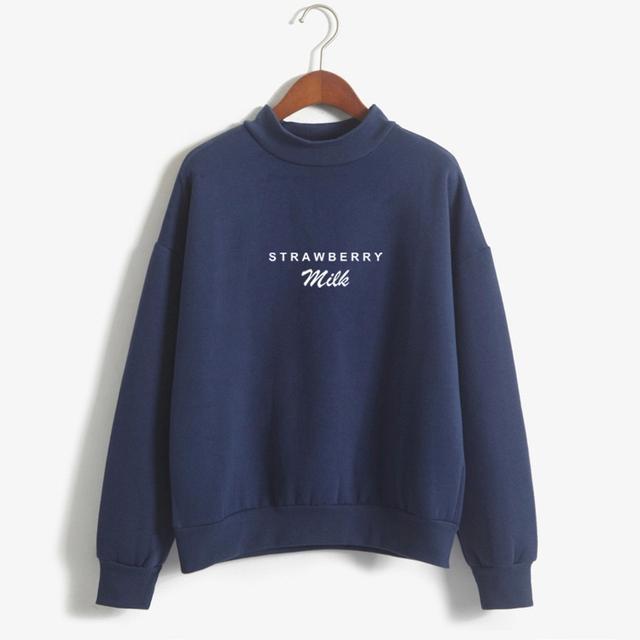 Winter Autumn Hoodies Women Kawaii Strawberry Milk Letter Print Harajuku Sweatshirt Girls Long Sleeve Fleece Turtleneck Pullover