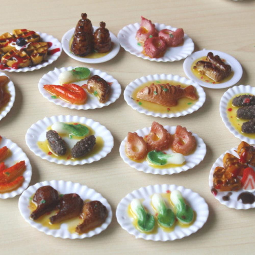 18Pcs Dollhouse Trays Plates Miniature Food Dishes Kitchen Tableware Decor Toy Gift For Children Girls Birthday Party