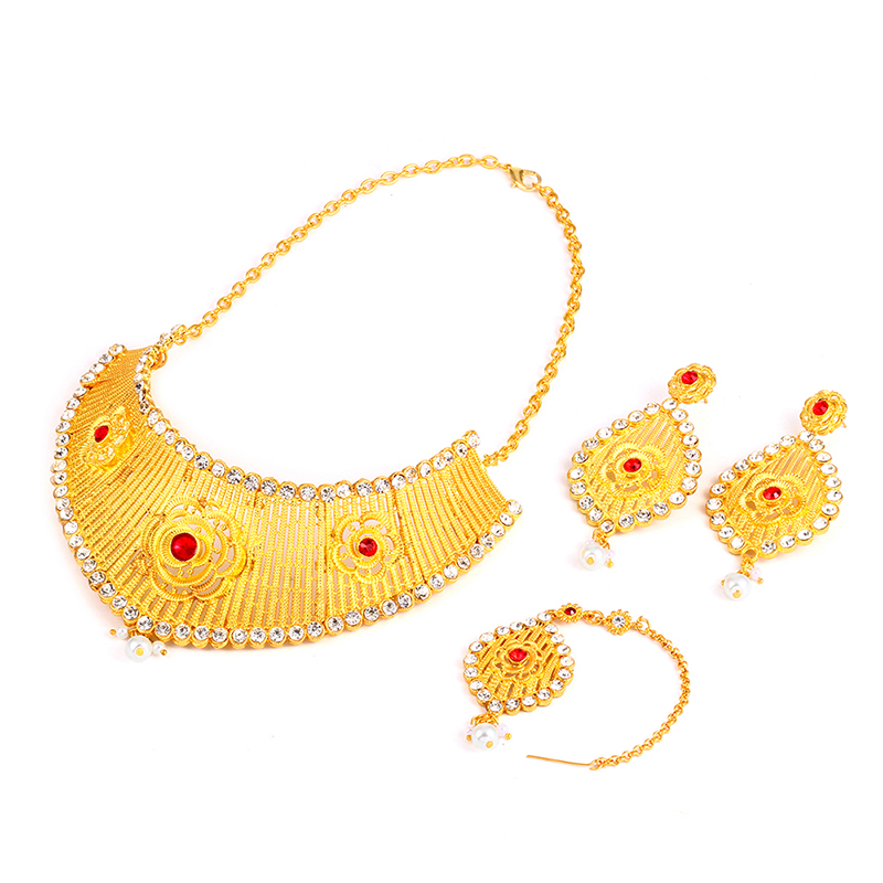 Ethlyn Women India Kundan Jewelry Set Red Acrylic Crystal Pearl Luxury Hollow Big Necklace/Dangle Earrings/Hairwear Gold Color classical malachite green round shell simulated pearl abacus crystal 7 rows necklace earrings women ceremony jewelry set b1303