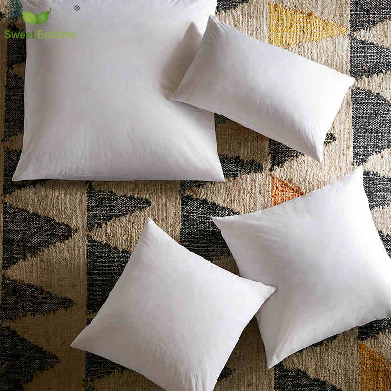 Goose Feather Cushion inserts White 50*30 Pillows 40*40 cm Back cushions core 50*50 square lumbar waist support cotton bolster