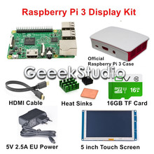 Best price Original Raspberry Pi 3 Model B Display Kit with 5 inch 800*480 HDMI Touch Screen + Official Raspberry Pi Case + 16GB SD Card