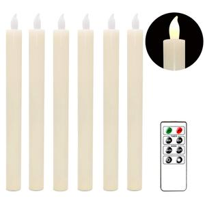 Image 4 - Eldnacele Set of 6 Flameless Flickering Candles Real Wax Candles LED Window Taper Candles with Timer and Remote Control