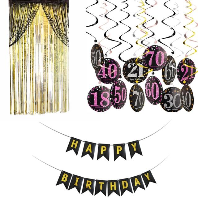 Individuality Birthday Decoration 50th Birthday 18 30 40 60 70 Adult Girl Birthday Party Decoration Hanging Ornaments Set