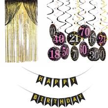 Indywidualność dekoracje urodzinowe 50th urodziny 18 30 40 60 70 dla dorosłych dziewczyna dekoracja urodzinowa wiszące ozdoby zestaw