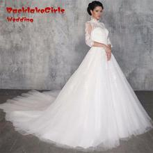 BacklackGirls Wedding 2017 Custom Made High Neck A-Line Wedding Dresses 3/4 Sleeves Sheer Back Bridal Gowns