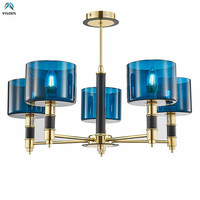 Nordic Luxury Blue Glass \/ Fabric Lampshades Led Chandelier Modern Hanging Chandelier Foyer Lustre E14 Luminarias Deco Lamparas
