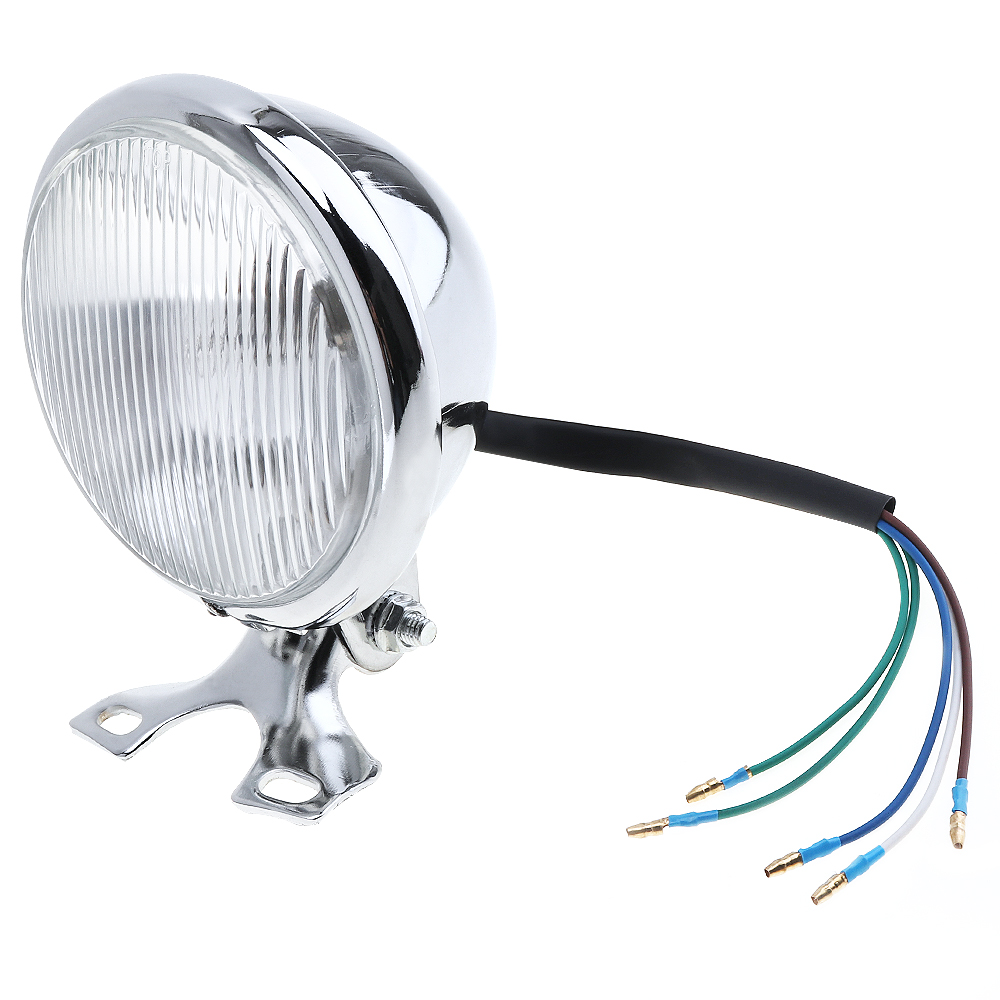 Universal Retro Metal Motorcycle Headlight Round 5 Inch 35W 12V with Holder for Halley Suzuki High Quality