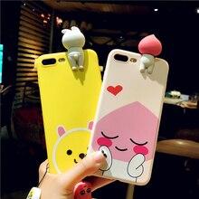 3D кукла чехол для iPhone 7 7 Plus милый кролик телефон чехлы для iPhone 6 6S 6 плюс мультфильм розовый персик мягкая задняя кольцо крышки на