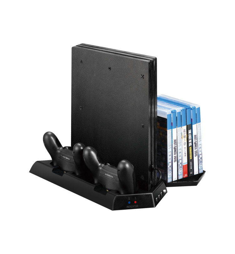 Купить с кэшбэком Vertical Stand Cooler for PS4 Slim /PS4/PS4 Pro Cooling Fan 2 in 1 Controller Charger Charging Station Game Storage With USB Hub