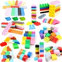 Diy 6 adet/grup vakıf Duploe tuğla büyük parçacık yapı taşları aksesuarları eğitici Duploed oyuncaklar çocuklar için