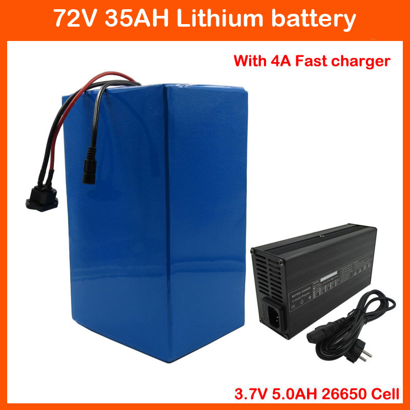 Free customs duty 3000W 72V 35AH Electric bicycle battery 72V ebike tricycle wheelchair lithium battery 50A BMS and 4A Charger image