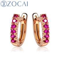 ZOCAI Genuine Ruby Gemstone 0 4 CT Certified Ruby Hoop Earrings 18K Rose Gold AU750 H00218
