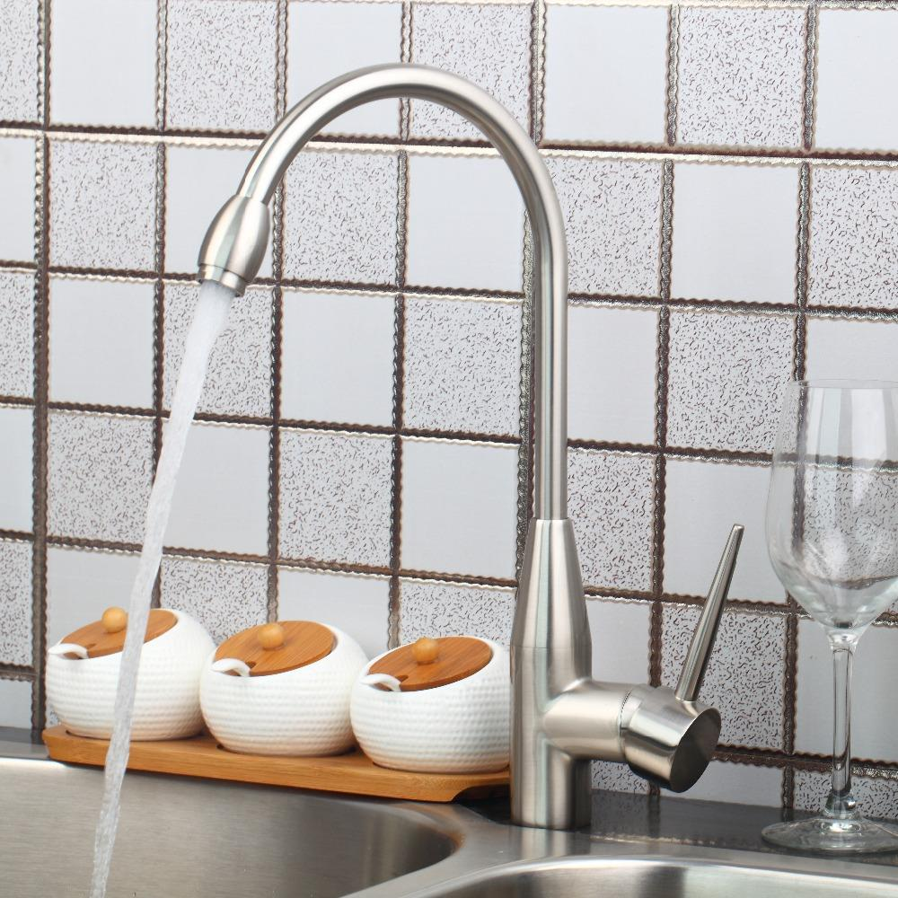 Shivers Hot Cold Kitchen Sink Faucet Nickle Brush Torneira Dozinha 92289 0 High Quality Kitchen Swivel