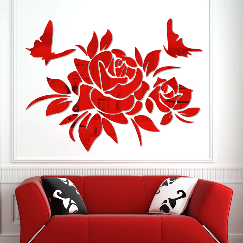 Nouveau 3D miroir acrylique stickers muraux rose fleurs et papillons maison chambre stickers muraux