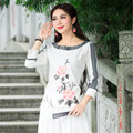 Women Three Quarter Sleeve Black And White Print Blouses Vintage V Neck Shirt Blusas Femininas Spring Autumn Casual Tops