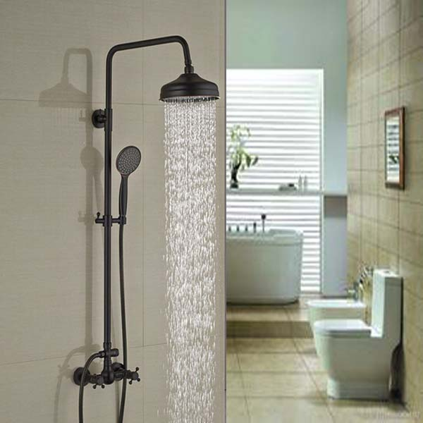 Oil Rubbed Bronze 8 39 39 Rain Bathroom Shower Faucet Set Tub Spout Mixer