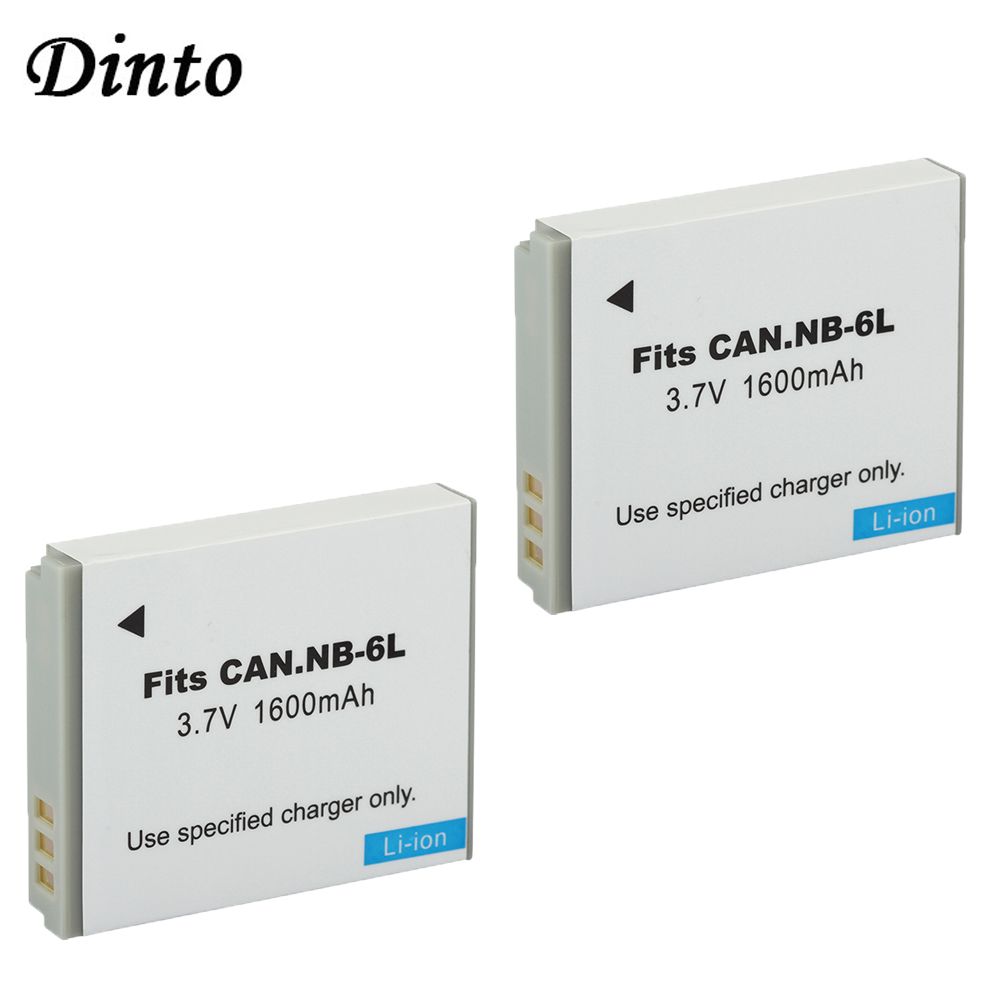 DINTO 2pcs 1600mAh NB-6LH NB-6L NB6L Camera Battery for Canon PowerShot S90 SD770 D10 HS SX520 SX530 SX540 SX600 SX610 SX700 - ANKUX Tech Co., Ltd