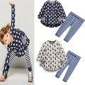 2016 новый футболка леггинсы брюки детские дети костюмы 2 шт. мода девушки одежда наборы кролик детская одежда лук топы костюм розничная
