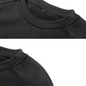 Image 5 - MFERLIER mannen Sweatshirts fleece warm 5XL 6XL grote maat grote herfst effen kleur Sweatshirts katoen trui jas geen hooded zwart