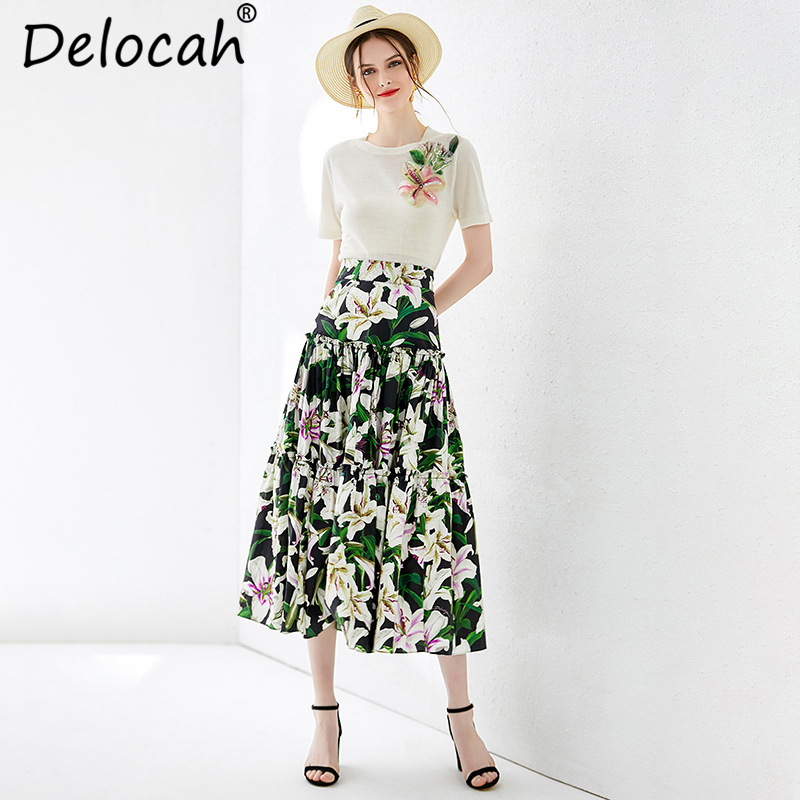 Delocah Women Summer Suits Runway Fashion Elegant Sequined Appliques T shirt and Vintage Pleated Floral Print Skirt 2 Pieces Set-in Women's Sets from Women's Clothing    1