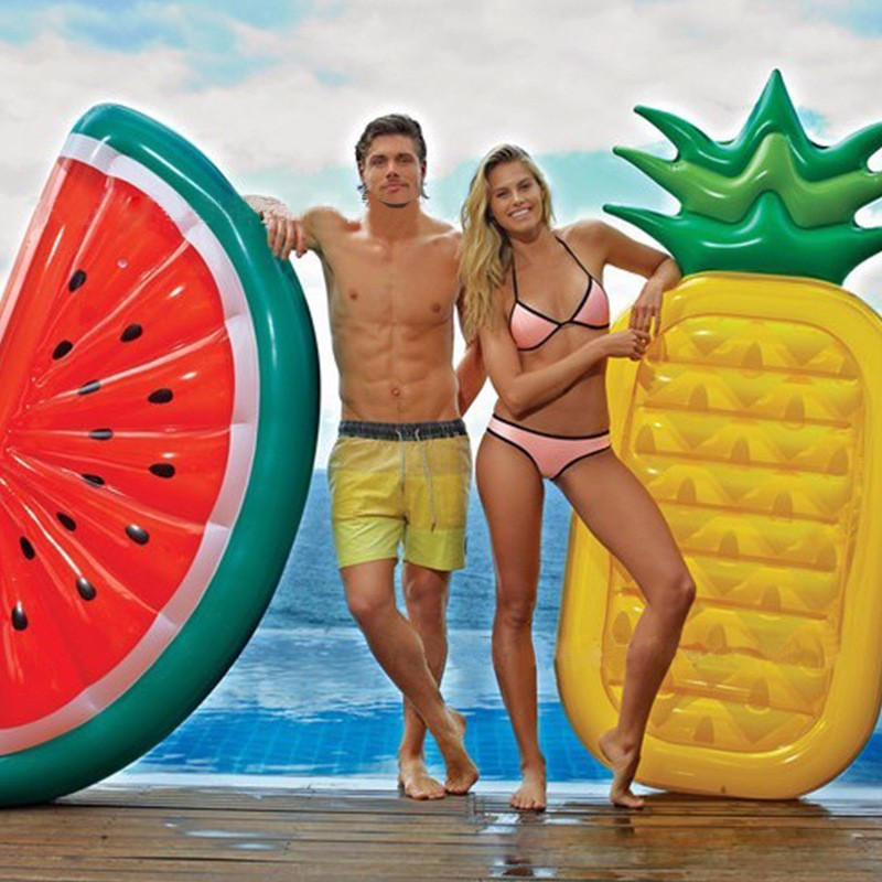 2019 Terbaru Kembung Separuh Semangka Tembikai Berenang Kolam Renang Terapung Beach Water Fun Toy Buah Floatie Air Mattress Lounger
