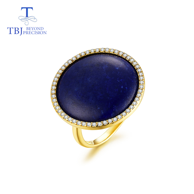 TBJ,Simple big size ring with natural lapis in 925 sterling silver yellow gold color fine jewelry for women party daily wear