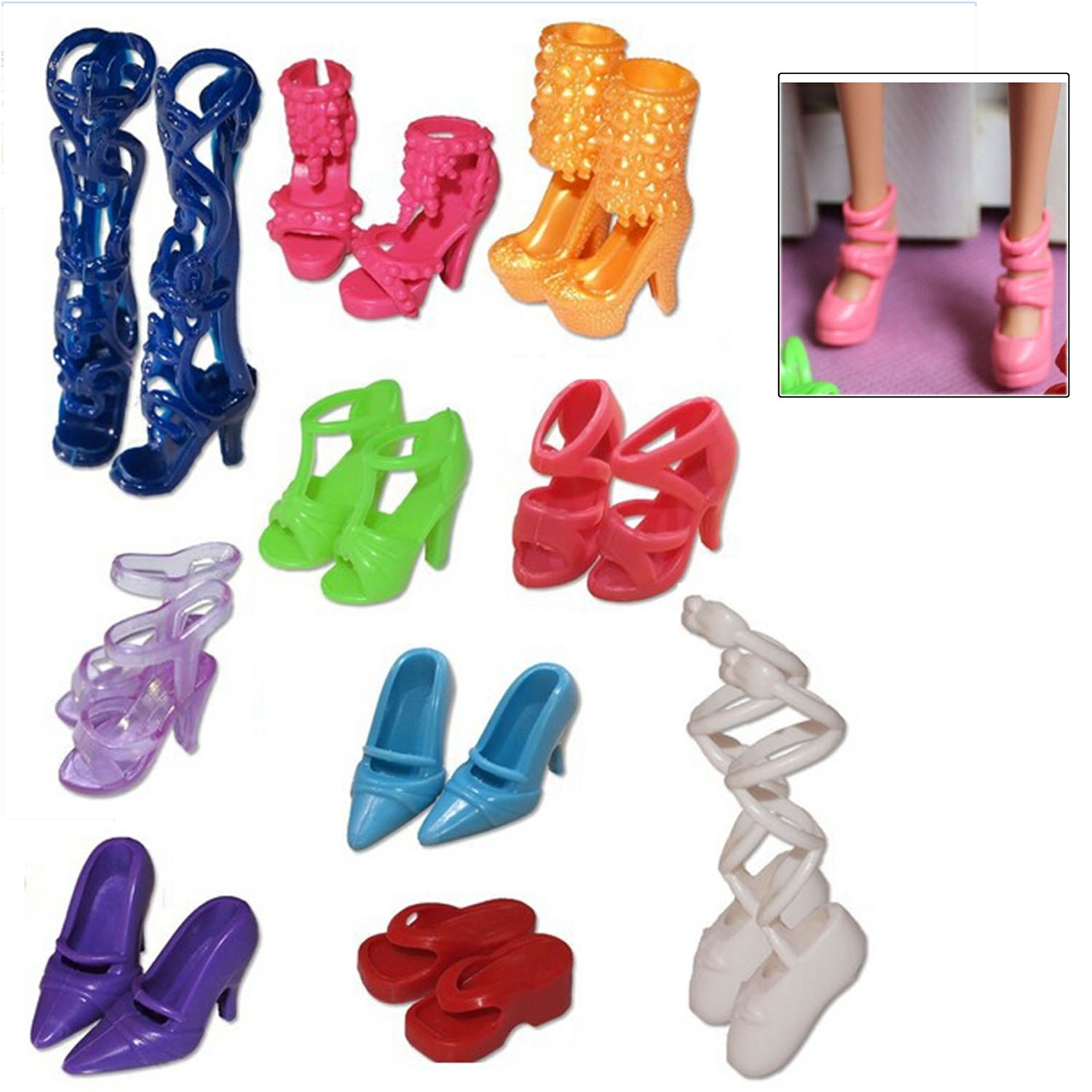 10 Pairs Fashion Handmade High-heeled Sandals Shoes Boots Stage Decoration For Barbie Dolls Girl Dolls Christmas Gifts Toys image