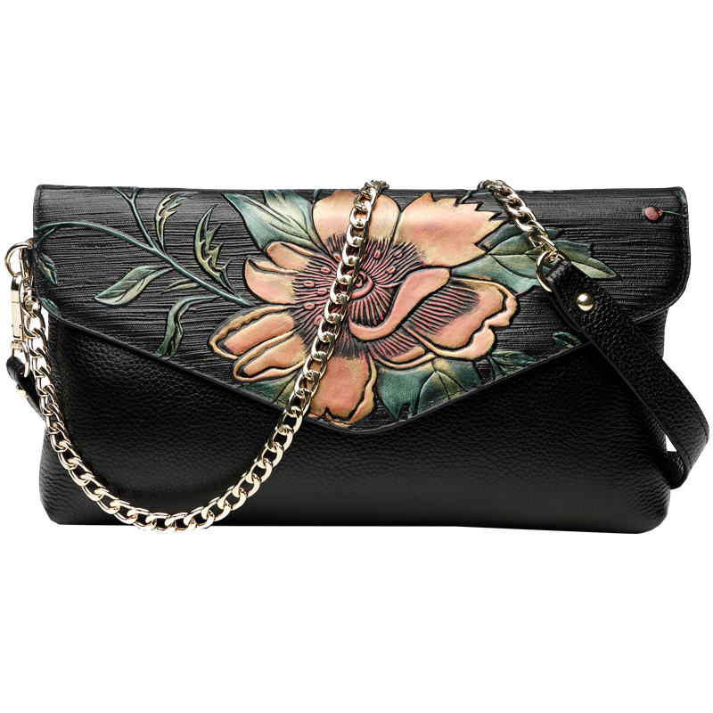 National Style Vintage Peony Celebrity Day Clutches Designer Evening Bags Women's Long Wallet Purse Wristlet Lady Shoulder Bag celebrity day clutches high capacity handbag fashion star long wallet purse evening banquet chains shoulder crossbody bag zipper