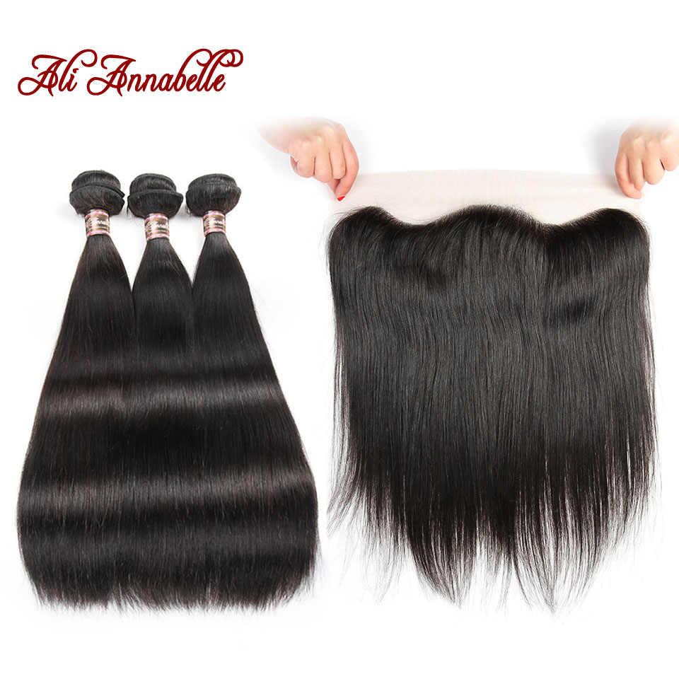 ALI ANNABELLE HAIR Peruvian Human Hair 3 Bundles Straight Hair with 13*4 Lace Frontal  Remy Hair Bundles Natural Color