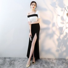 One Shoulder Elegant Maxi Evening Dress Qipao Women Satin Sheath Sexy Tight Chinese Prom Dresses Side Split Full Length Vestidos цена 2017