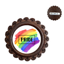 Gay Pride Rainbow Wood Brooch Lesbian LGBT 20mm Glass Dome Cabochon Collar Pins Jewelry For Women Men Lover Gift(China)