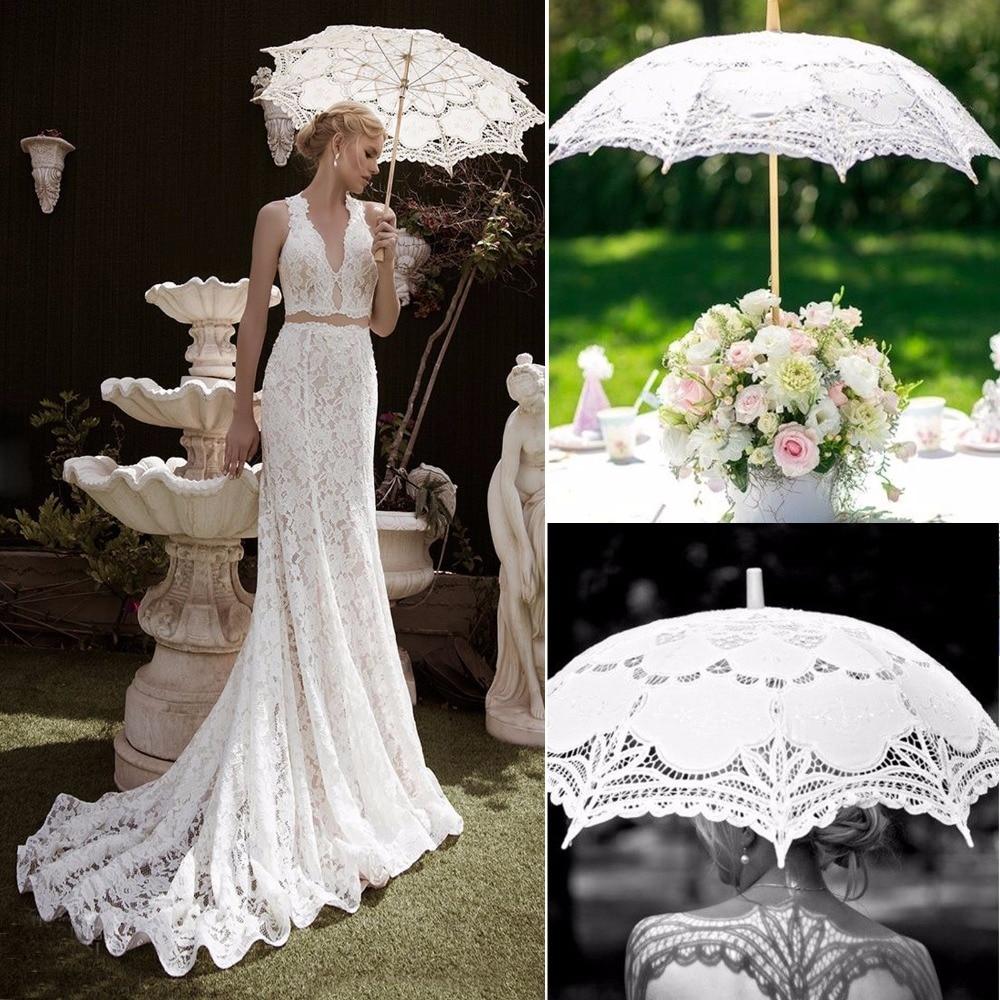 New Wedding Umbrella Lace Parasols Vintage Lace Umbrella Handmade Cotton Embroidery White Lace