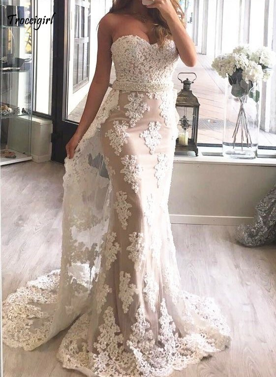 84-1              New Arrival Sweetheart Sleeveless Mermaid Lace Applique Crystal Beaded Organza Prom Dresses Long Trumpet Party Gowns For Prom