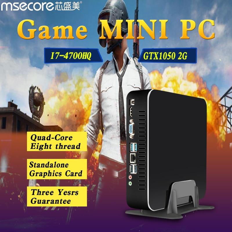 MSECORE i7-4700HQ Dédié Vidéo Carte GTX1050 2G mini pc ordinateur de bureau Jeu Windows 10 Nettop barebone linux HTPC 300 M WiFi