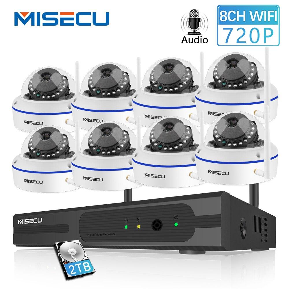MISECU 8CH système cctv Sans Fil 720 P NVR Avec 1.0MP Anti-Vandalisme Intérieur Wifi Caméra Enregistrement Audio vision nocturne kit de surveillance