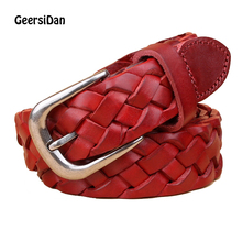 GEERSIDAN New Fashion decoration Genuine Leather belt for women Brand luxury high quality Weaving Retro pin buckle womens