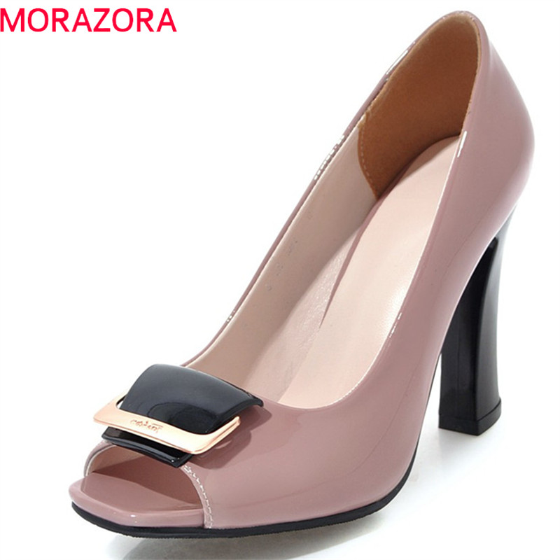 MORAZORA 2018 new arrive women pumps spring summer comfortable shallow simple peep toe black Pink size 34-40 high heels shoesMORAZORA 2018 new arrive women pumps spring summer comfortable shallow simple peep toe black Pink size 34-40 high heels shoes