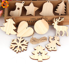 10PCS Natural Wooden Christmas Ornaments Pendants Wood Crafts Hanging Xmas Tree Ornament Kids Gift Party Decoration