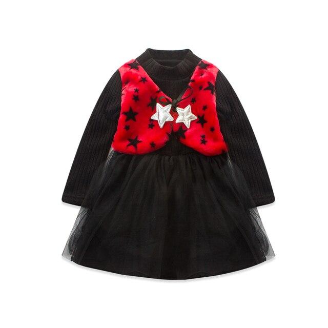 2016 Trend Children's Garment Winter New Pattern Girl Five-pointed Star Vest False 2 Set Skirt Girl Precious Thickening