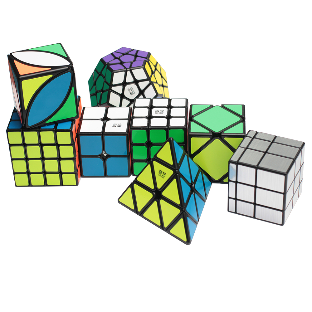 ZCUBE Bundle 8PCS/Set Gift Pack Qiyi XMD Magic Cube Set 2x2x2 3x3x3 4x4x4 Mirror Speed Cube Puzzle Educational Toys For Children