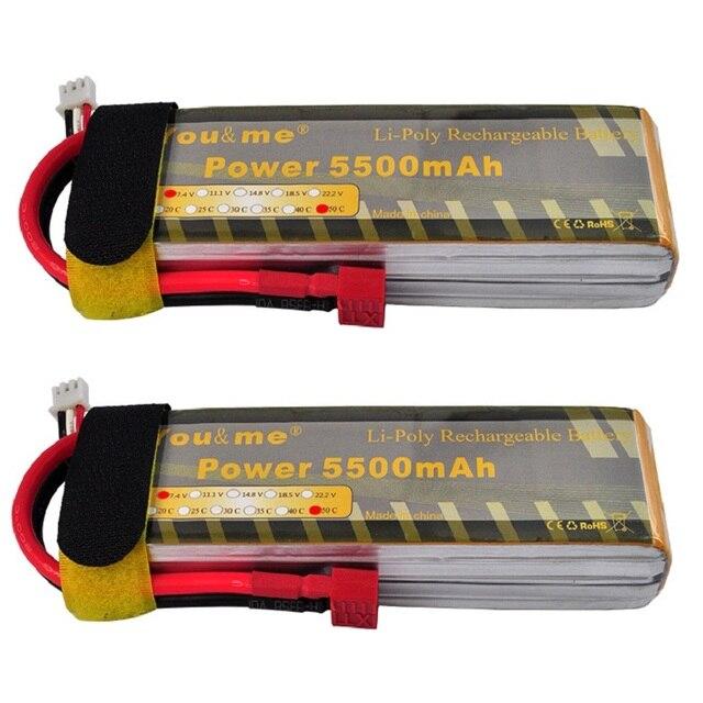 2pcs/lot You&me RC Lipo Lithium Polymer Battery  7.4V 5500mAh 50C 2S Toys & Hobbies Akku Batteria Rechargeable