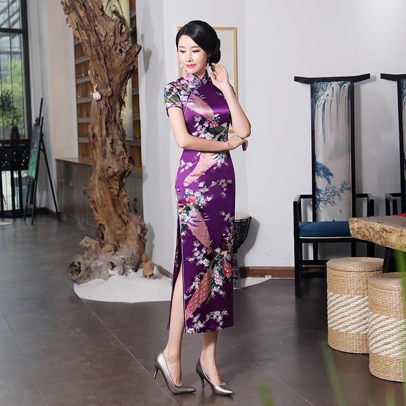 Сексуальное Фиолетовое Женское атласное Повседневное платье, летнее новое длинное китайское платье Ципао с цветочным принтом, Размеры s m l xl XXL 3XL 0162