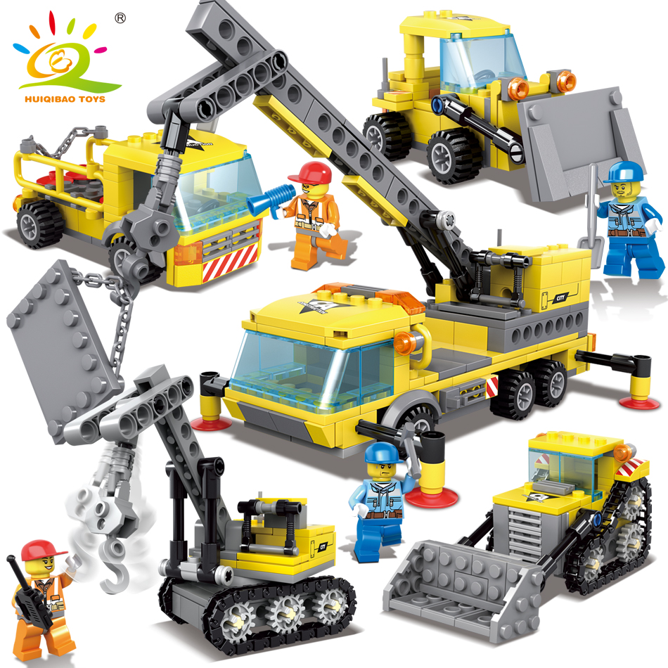 HUIQIBAO TOYS 457pcs 4in1 Engineering Construction Excavator Building Blocks Enlighten Toys For Children Compatible Legoed City