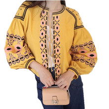 2016 Autumn Women Runway Fashion Ethnic Style Embroidery Belt Lantern Sleeve Jacket Slim Vintage Light Short Outwear