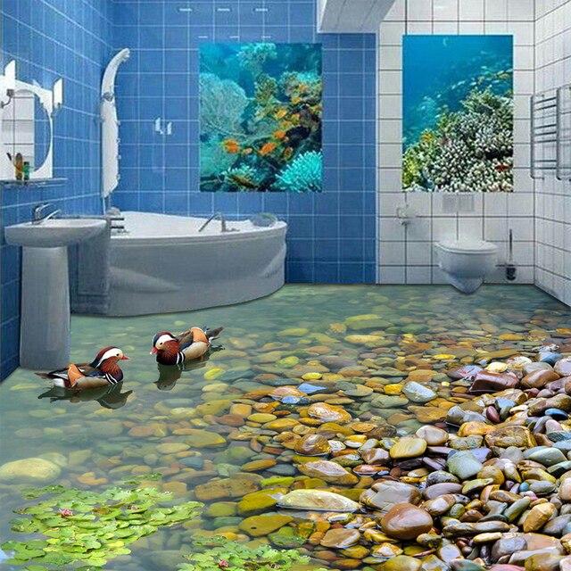 Nach 3D Boden Tapete Badezimmer Küche 3D PVC Boden Wandbild Selbst ...