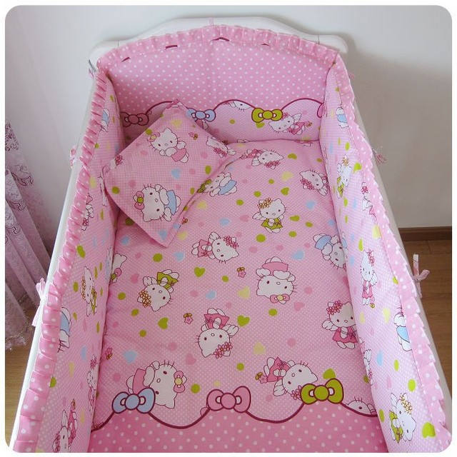 Promotion! 6PCS Hello Kitty 00% cotton Baby bedding sets piece set crib set 100% cotton  (bumpers+sheet+pillow cover)