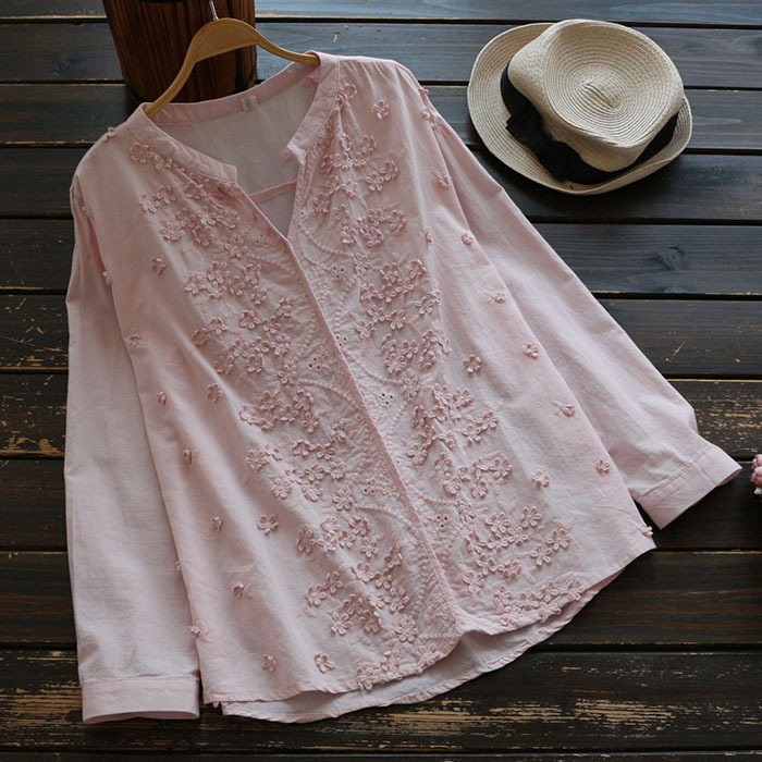 Nuevo 2017 Lindo blusa Con Cuello En V bordado de manga larga de algodón blusa c