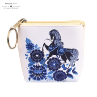 6pcs PU Leather Blue Porcelain Floral Horse Coin Purse Cardholder Portefeuille Business Card Holder Small Zip
